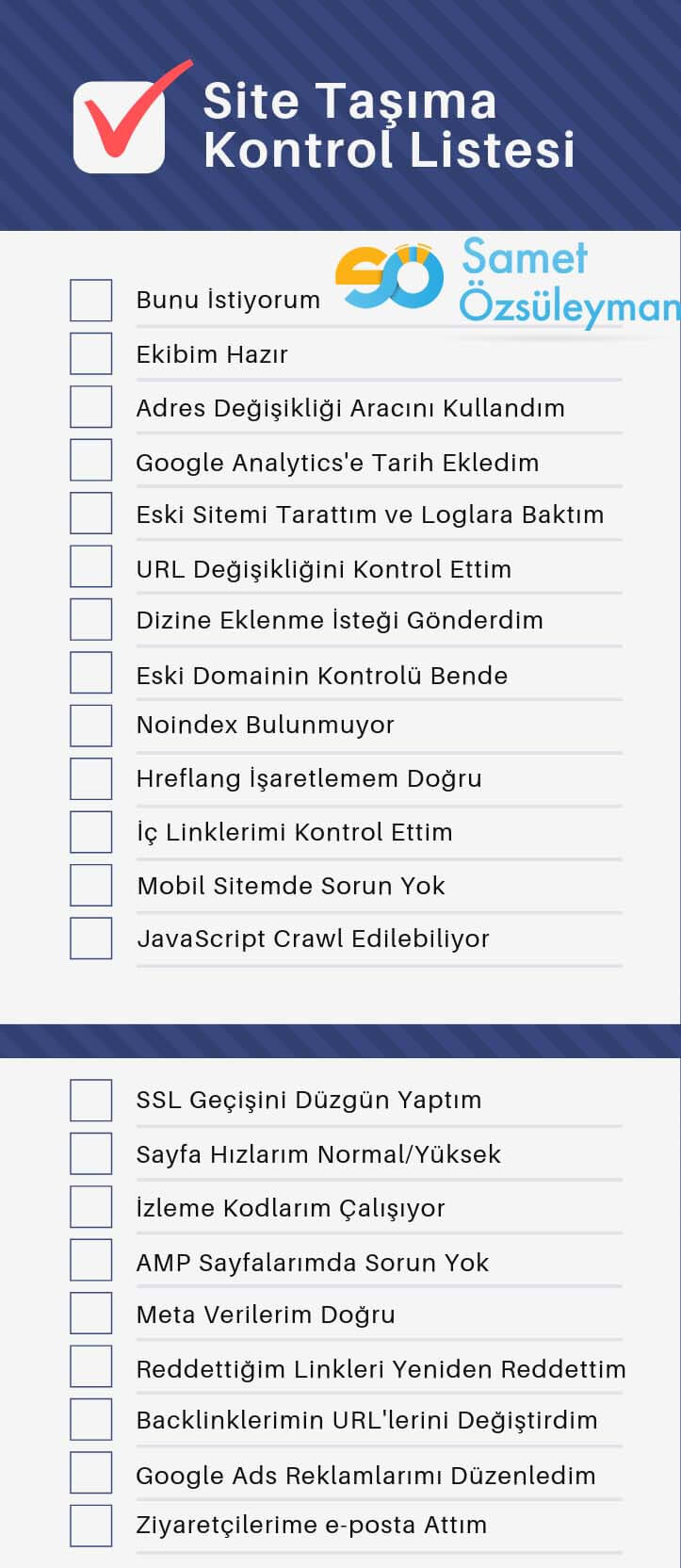 Site Taşıma Checklist